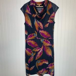 Ellen Tracy feather print short sleeve midi dress